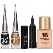 Face Eye Tuning Color Diva Golden Black Eyeliner Kajal With Foundation Set of 5 GC568-By Adbeni