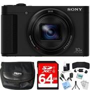Sony Cyber-shot HX80 Cámara digital compacta de 64 GB tarjeta de memoria incluye cámara, tarjeta, lector, portafolios, cartera, cable HDMI, mini trípode, protectores de visualización, kit de limpieza, paño de cámara de playa y mucho más.
