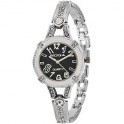 RIDIQA Analog Crystal Studded WHITE Dial Stainless Steel Golden Wrist Watch For Girls Women-RD-074