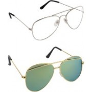 Pogo Fashion Club Cat-eye, Aviator Sunglasses(Green, Grey, Clear)