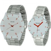 Crude Couple Combo of Analog Watch-rg582 With Stainless Steel Strap