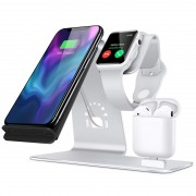 BESTAND 3-in-1 iWatch Stand Airpods Charger Dock 10W Phone Qi Wireless Charger Desktop Mount - Silver