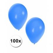 100x Blauwe feest ballonnen
