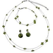 Olivine Dress Green Crystals Double Stranded Necklace Bracelet Bridal