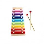 iHome&iLife Wooden 8 Tones Rainbow Colorful Hand Knock Piano Wisdom Development Enlightenment Musical Toy For Baby Kids Xylophone (Red Mallet )