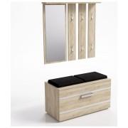 Set cuier cu oglinda + pantofar tip scaun dublu cu sezut tapitat, model Opal, culoare stejar