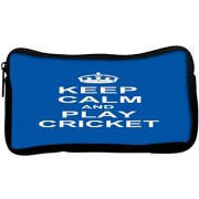 Snoogg Keep Calm and Play Cricket Poly Canvas Student Pen Pencil Case Coin Purse Utility Pouch Cosmetic Makeup Bag
