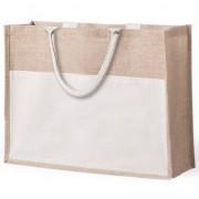 Merkloos Jute/katoenen naturel shopper/boodschappen tas 44,5 cm