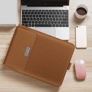 Universal Stand Foldable Laptop Bag Laptop Sleeve Leather Bag for MacBook 15 inches - Brown