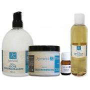 Tratamento Facial Pele Seca Kosmetiké: Leite Desmaquillante + Tónico + Serum Antiedad + Creme Regeneradora