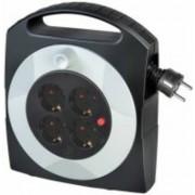 Primera-Line Kábeldob 4 dugaszhelyes fekete/világosszürke 5m H05VV-F 3G1,5