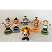 6 Plastic Solar Powered Fall Themed Dancing Figurines (Set Of 6) Thanksgiving Pilgrims Scarecrow Turkey Pumpkin