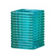Vierkant ribbelglas voor refills (aqua)