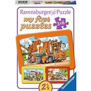 Puzzle Masina de gunoi, ambulanta si camion de remorcare, 3x6 piese