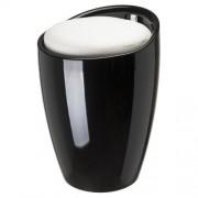 Douche Concurrent Badstoel Poef Woodynox ABS Zwart met Witte Zitting 24x50cm
