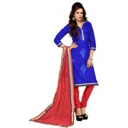 Florence Blue lovely Chanderi Cotton Embroidered Suit (SB-2589) (Unstitched)