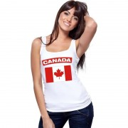 Bellatio Decorations Singlet shirt/ tanktop Canadese vlag wit dames