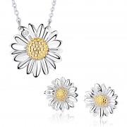Set argint 925 colier si cercei floarea soarelui