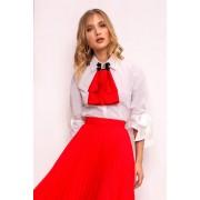 Piros PrettyGirl elegáns női ing szűk szabás enyhén rugalmas anyag háromnegyedes ujjú