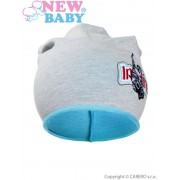 NEW BABY Podzimní dětská čepička New Baby In-line šedo-tyrkysová