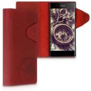 kalibri Kožené flipové pouzdro pro Sony Xperia XA1 Plus - tmavě červená