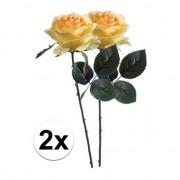 Bellatio flowers & plants 2x Gele rozen Simone kunstbloemen 45 cm