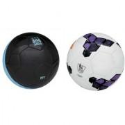 City Black/Blue + Premier League Purple Football (Size-5) Pack of 2 Footballs