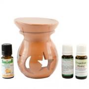 Candelă de aromaterapie și 3 sticluțe de uleiuri esențiale 10ml: Ylang-Ylang, Portocale dulci și Grapefruit