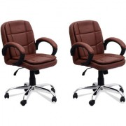 DZYN Furnitures Leatherette Office Executive Chair (Brown Set of 2)