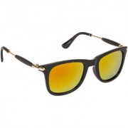 Arzonai Stone Boss Mirrored Wayfarer Shape Black-Orange UV Protection Sunglasses For Men & Women [MA-038-S10 ]
