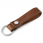 Trendhim Porte-clés en cuir marron à boucle et rivet métallique