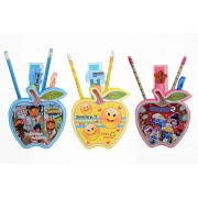 Laxmi Collection Fancy Apple Shape Pen Holder Gift Set With Stationary Kit, Pack Of 3
