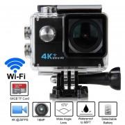 "Cámara Deportiva Q6H 2.0"" WiFi 4K 25FPS 16MP 173°Sports Camera EU PLUG-Negro"