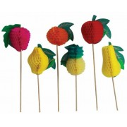 Party Partners Design Honeycomb Fruit Tall Decorative Food Picks, Multicolored, 12 Count