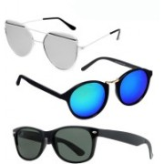 GreatDio Round, Cat-eye, Wayfarer Sunglasses(Blue, Silver, Black)