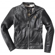 Black-Cafe London Milano Motorcycle Leather Jacket Black 54