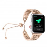 Stylish Flower Pattern Decor Stainless Steel Bracelet Replacement with Pendant for Apple Watch Series 5 4 40mm, Series 3 / 2 / 1 38mm - Rose Gold