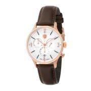 【50%OFF】ミース クロノグラフ デイト カーフレザーベルト ウォッチ フェイス:ホワイト ベルト:ブラウン ファッション > 腕時計~~メンズ 腕時計