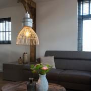 QAZQA Country Round Pendant Lamp 35cm Rattan with Aluminium Details - Anteros Rattan