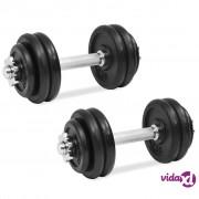vidaXL 18-dijelni set utega od lijevanog željeza 30 kg