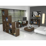Combo TuHome Rack TV + Biblioteca + Arrimo + Mesa Centro - Amaretto