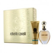 Roberto Cavalli (New) Coffret: Eau De Parfum Spray 50ml/1.7oz + Body Lotion 75ml/2.5oz (Gold Box) 2pcs Roberto Cavalli (Нов) Комплект: Парфțм Спрей 50мл + Лосион за Тяло 75мл (Златиста Кутия)