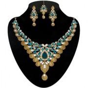 Kriaa by JewelMaze Zinc Alloy Gold Plated Blue Austrian Stone Kundan Necklace Set With Maang tikka-AAA0597