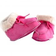 Bernardino Roze baby pantoffels/sloffen van lamsleer met wol