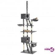 vidaXL Penjalica za mačke sa stupovima za grebanje od sisala 230 - 260 cm siva s uzorkom šapa