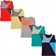 tirupur fashion biz Boys Sleeveless T-Shirts 5Different Colorful and Cool Cotton BIO-Washed Collection (5-Pcs)
