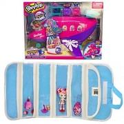 Season 8 Shoppies Jet, Shopkin with a Compatible EASYVIEW Blue Toy Organizer Case Bundle (Shopkins Jet Playset)