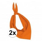 Kariban 2x Zakdoek bandana oranje