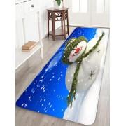 Rosegal Tapis de Sol de Noël Anti-souriant Bonhomme de Neige en Sourire Imprimé Largeur 16 x Longueur 47 pouces