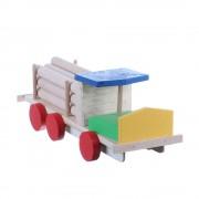 Jucarie din lemn camion cu remorca lemne